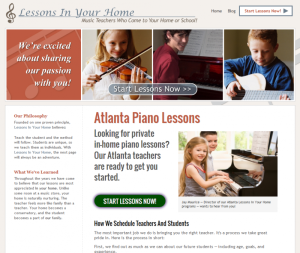 Landing Page for Atlanta Piano Lessons