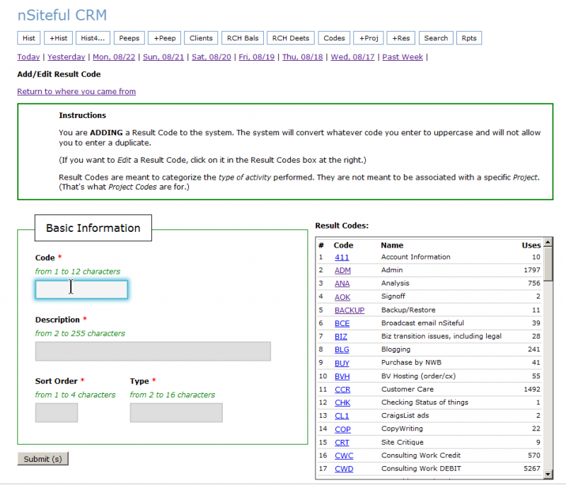 Screen capture from my own custom CRM system Web application