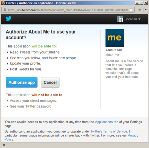 About.me Twitter link