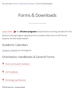 screen shot of forms/downloads page, top