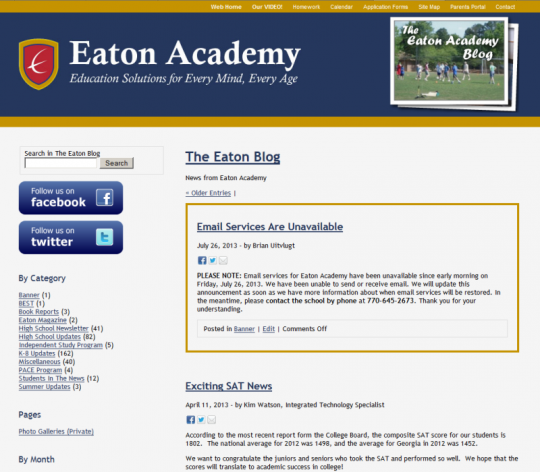 Here's how the announcement appears on the blog's home page