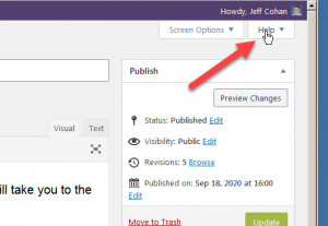 finding the WordPress help tab