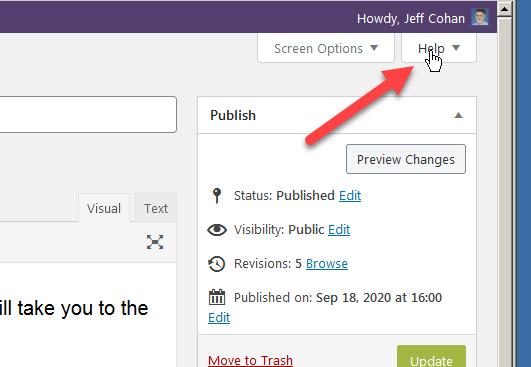 WordPress Contextual Help