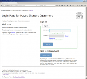 Hayes Shutters Online Ordering System