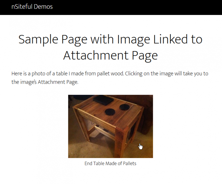 sample page with image linked to attachment page