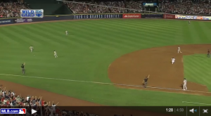 Still from video of controversial Infield Fly Rule call in Braves-Cards game of October 5, 2012