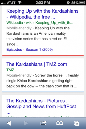 Screen shot of mobile search in Google