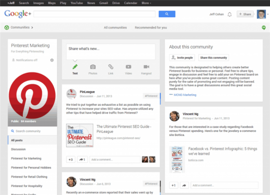 Pinterest Marketing Community on Google Plus