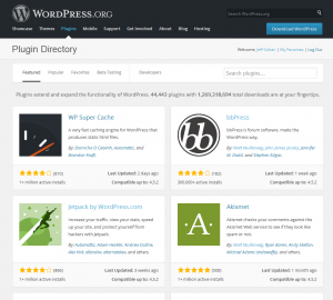screenshot of WordPress plugins repository