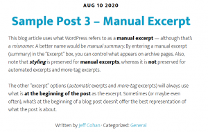 WordPress Manual Excerpt in blog archive